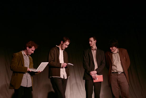 Reading with Dénes Krusovszky, Péter Bognár and András Bajtai on the event of Paper magazine, photo by Hajnal Benedek, 2005.