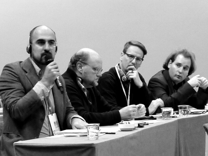 At the European Writer's Parliament with Hari Kunzru, Ola Larsmö and Sjón. (Photo by Alexandra Buchler)