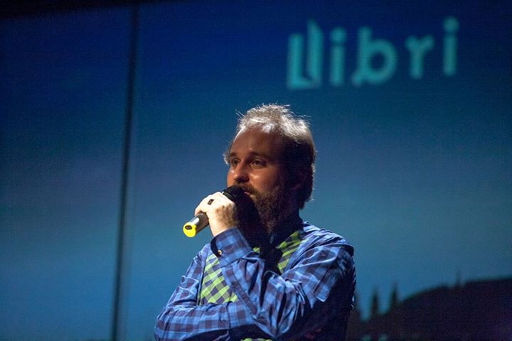 Saying goodbye as I end my career as editor-in-chief of literary fiction at Libri Publishing, 2014 (Photo by Libri Publishing)
