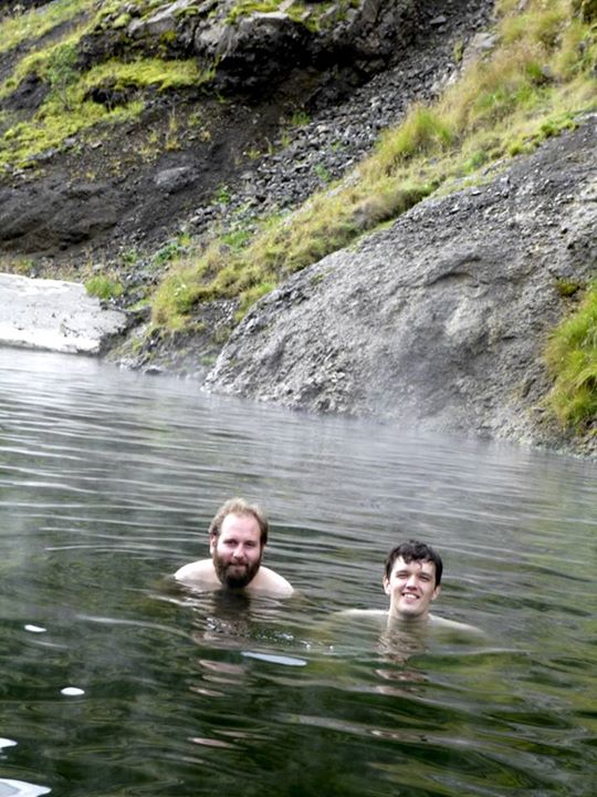 Chilling at Seljavallalaug, Iceland with by partner, 2013 (Photo by Eszter Sziladi)