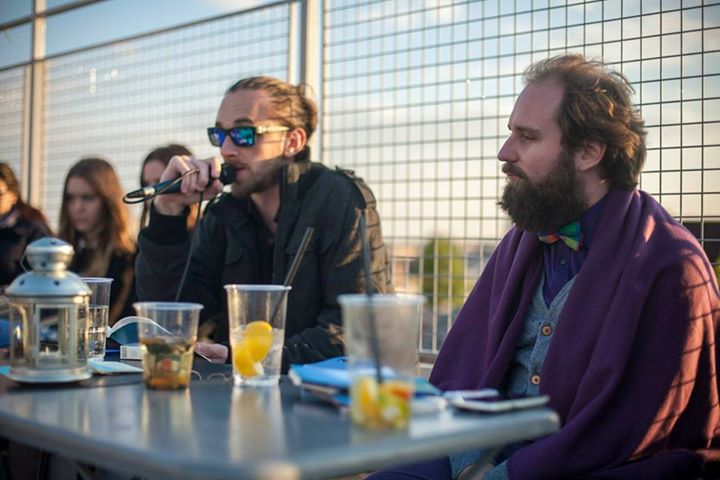 Book launch at a rooftop bar With the poet Márton Simon, 2014 (Photo by Libri Publishing)